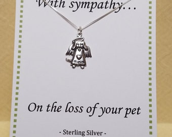 Loss of Dog Sympathy Gift Necklace Sterling Silver Jewelry