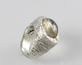 Handmade OOAK Sterling Silver Textured Stripes Ring with Rutilated Quartz