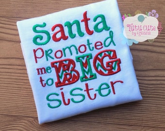 Santa promoted me to Big Brother/Sister Shirt, Baby announcement Big Sister/Big Brother Christmas shirt, Pregnancy announcement