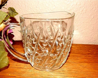Pitcher Clear Depression Glass Vintage 1940's  Anchor Hocking Collectible Sauce Serving Dish Bubble Burple Dots Dashes Art Deco Tableware