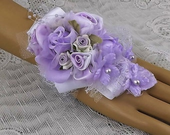 Wrist corsage-Lilac-Prom Corsage-Wedding Corsage-Bridal Corsage-Bride-Fabric Corsage-Jewelry Corsage-Clay Flowers-Mother of the Bride