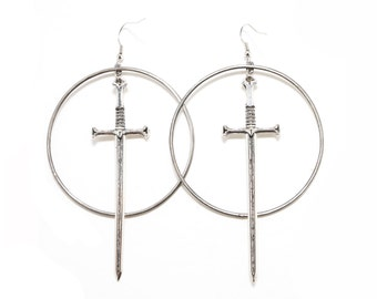 Sword Wielder Hoop Earrings, Hand Fabricated Hoop Drop Sword Earrings, Sword Earrings,Cross dagger Hoop Earrings, Large Hoop