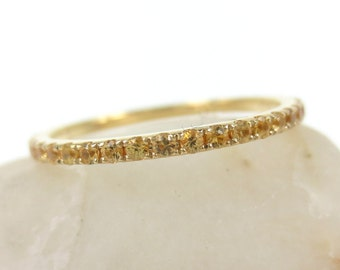 1.4mm Yellow Sapphires Eternity Band / 18k Yellow Gold - Wedding band - Stacking Band