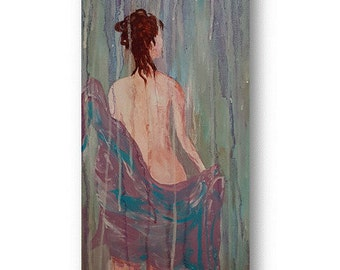 Rain Shower bath decor original art 12 x 24 canvas one of a kind hand painted stretch canvas nude painting woman shower art  beach decor