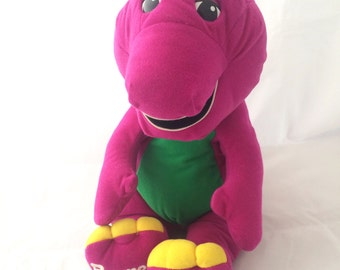 1996 Talking Barney Plush Toy, Playskool Hasbro Barney plushie, large Barney doll, Barney and Friends vintage toys, Big Purple Dinosaur