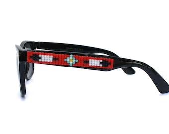 Children's Sunglasses, Beaded Sunglasses, Flower & Arrow Sunglasses, Wayfarer Sunglasses, Ray Ban Style, Kids Sunglasses, Unique Child Gift