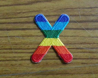 Rainbow Alphabet Letter X Applique Embroidered Iron on Patch