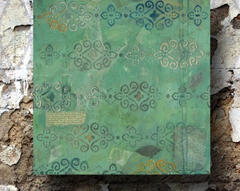 shabby chic decor - green abstract painting - original mixed media - 'Vintage Garden' - 18x18 - FREE US SHIPPING