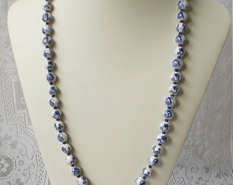 Asian Hand Knotted Blue and White Ceramic Bead Necklace  1561