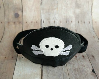Mini Pirate Headband Hat, Black Vinyl with Embroidered Skull and Crossbones Design, Baby Photo Prop, Great for Boys or Girls, Quick Ship