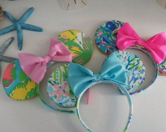 Minnie Mouse Inspired Ears Covered With Lilly Pulitzer Fabric I-O Alphabetically Child/Adult One size Fits All Wear to Disney