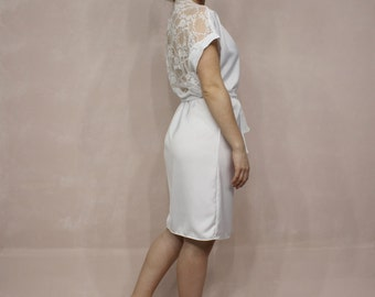 White bridal Robe, Satin Bride Robe, White Lace Robe, Bridal Robe