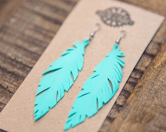 Turquoise Earrings, Boho Earrings, Vegan Feather Earrings,  Handcrafted bicycle Inner tube with Surgical Steel Hooks