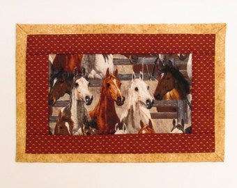 Quilted Horse Mug Rug Cotton Fabric Mini Placemat - Horses Mug Mat - Gold - Rust