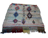 """76""""X65"""" inch Large vintage Moroccan rug woven by hand from scraps of fabric / boucherouite / boucherouette"""