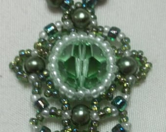 Shades of green beaded necklace and earring set