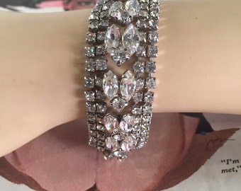Vintage Faux Diamond Bracelet -- Loads of Sparkle