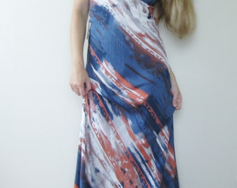 Maxi dress Halter dress Open back dress Southwestern Print dress. Tribal Boho Hippie, Romantic flowing dress - Tennessee Waltz -