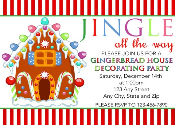 Gingerbread house decorating party invitation gingerbread Gingerbread house decorating party invitations