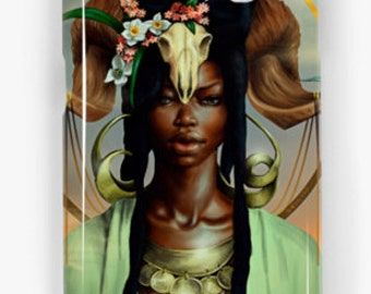 Aries Samsung Galaxy Phone Case African American Zodiac Goddess Black Girl Magic  Afrofuturism