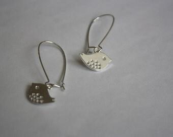 Bird Charm Dangle Earrings, Kidney Earwires, Silver Plated Earrings
