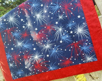 Fireworks  Fabric Centerpiece, Fourth of July Table Centerpiece, Patriotic Table Runner, Patriotic Table Centerpiece