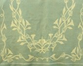 Vintage Wool Blanket Floral Design Blue and Cream