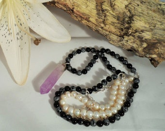 Necklace made from Snowflake Obsidian and Freshwater Pearls with Amethyst Pendant