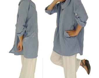 HI800HBL tunic blouse linen layered look vintage size 40 42 44 46 48 light blue