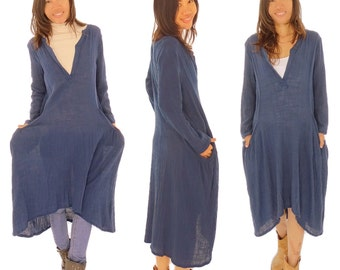 GS900 dress balloon shape tunic layered look used look size 32-38 Blue