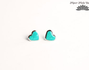 Valentines Day Tiny Heart Stud Earrings, Silver and Turquoise Heart Earrings, Polymer Clay Earrings, Cute Gift for Teen, Piper Pixie Designs