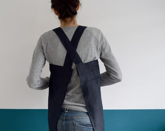 LINEN APRON BLUE. Japanese style. Cross Apron. Simple squared design for Kitchen. Natural Linen blue Smock. Pinafore. Aprons Handmade