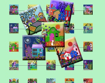 FUNKY HOUSES - Digital Collage Sheet .75 x .83 inch Scrabble Tile Images. Pendants, magnets, earrings, scrap-booking. Instant Download #215.