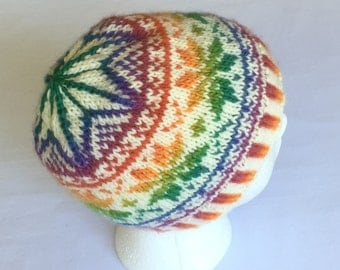 Soft and Warm Rainbow Snowflakes Winter Hat Hand Knit Sized for Teens to Adult Small