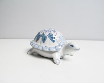 Vintage porcelain turtle trinket box, pink and blue handpainted decoration, china, asian design turtle figurine Length 6.6 in/17 cm