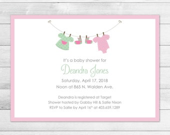 Pink Clothesline Printable Baby Shower Invitation