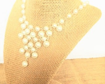 Pearl Bib Necklace, Pearl Statement Necklace, Pearl Necklace