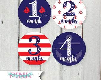 Nautical Baby Milestone Stickers - Nautical Monthly Baby Stickers - Red White and Blue Baby Shower Gift, Baby Boy, Nautical Belly Stickers