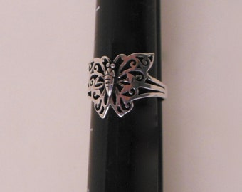 Butterfly RING Silver 925, Sterling Silver Butterfly Ring Size 8.5