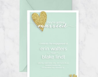 Printable Mint Gold Glitter Glam Engagement Party Invitation - Digital File - 5x7