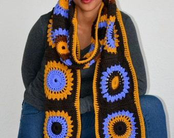 Super Granny Square Scarf/ Crochet Granny Square Scarf/ Winter Fashion Scarf/ Fall Fashion scarf/ Trending item/ High Fashion Scarf