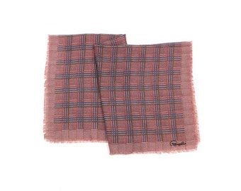 Pappagallo plaid scarf / mauve & blue plaid scarf / 1980s printed scarf
