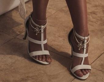 Ivory Bridal Heels, Ivory Leather wedding shoes, Designer bridal shoe, Boho Wedding shoes, T-bar high heels, Style: Faithful & True