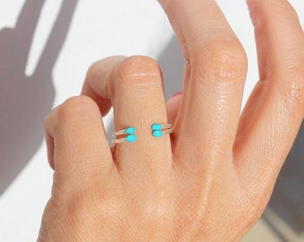 2 DAINTY Ring, Tiny Turquoise Ring, Delicate Ring, Dainty Ring, Minimalist Ring, Stacking Rings, Delicate Jewelry, Stacking Ring set of 2