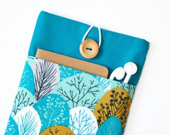 iPad Pro 10.5 Case, New iPad 2017 Cover, iPad Sleeve - Teal Padded Tablet Case with Pocket for iPad Pro 9.7, 12.9 Teal Trees