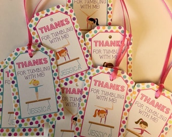 Favor Tags, Gymnastics, Tumbling, 12 Girls Birthday Party Favor Tags -  - Girls Birthday Party Decorations, Girl Party Favors