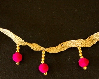 Silver Trim With Fuchsia Pink Velvet Beads And Gold Beads Dangles, Approx. 35mm wide - 140316L40A