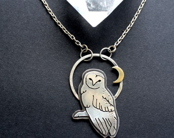 Sterling Silver Barn Owl and the Moon Owl Pendant Necklace