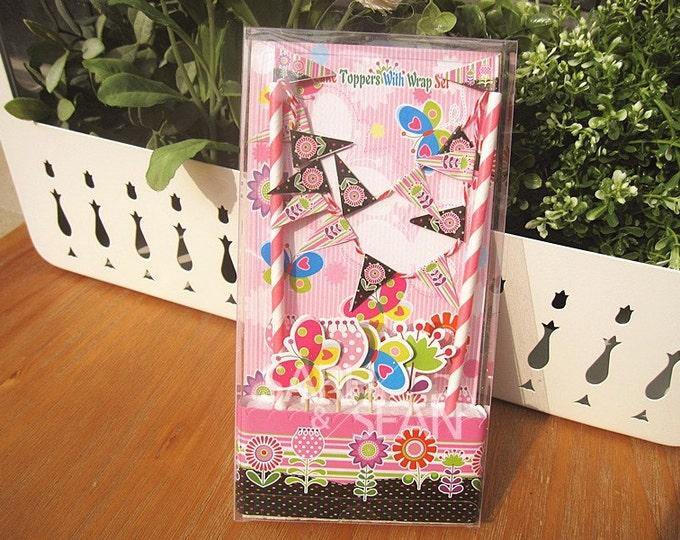 SALE Flower Garden Cake Topper Kit - Includes Cake Wrapper Cake Topper Picks Banner Flag Bunting