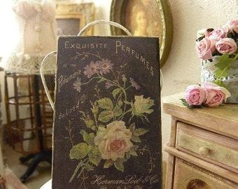 Antique perfume label printed sign in wood, Decorative accessory for a French miniature dollhouse in 1/12 scale